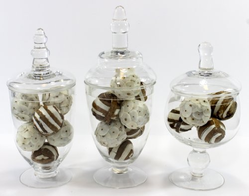 Set Of Three 3 Mini Clear Glass Apothecary