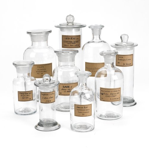 Two S Company Botany Apothecary Jars With Antiqued Labels