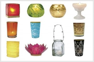 Colored Apothecary Jars as Candle Holders