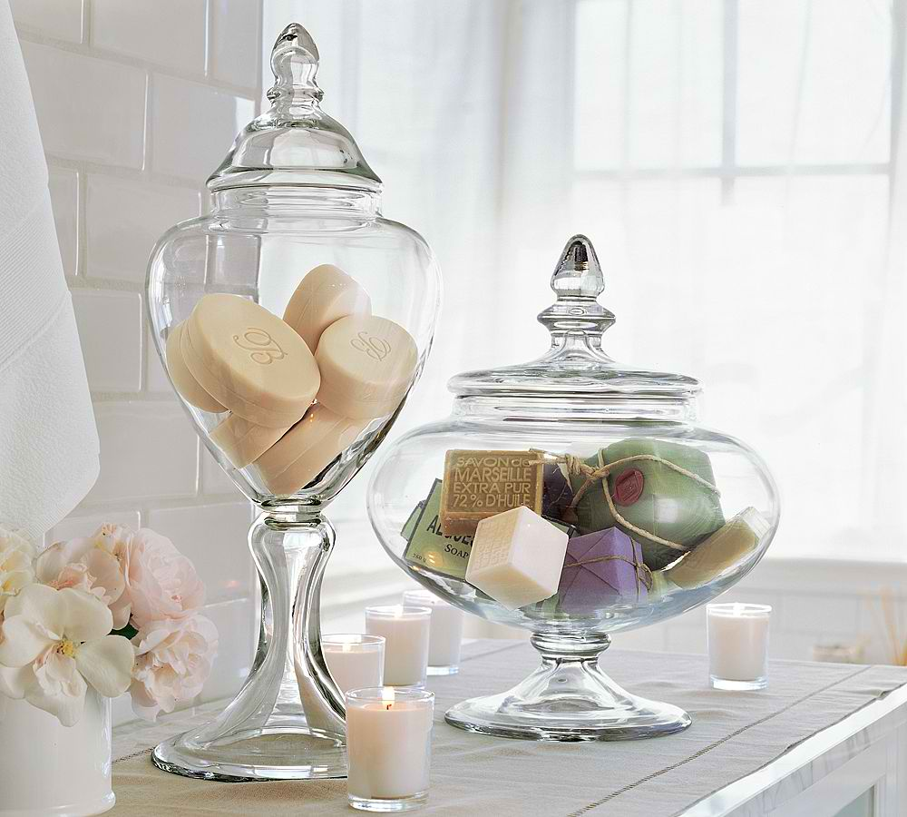 Apothecary Jars Are Not Just Great For Edible Items They Re Keeping Cotton And Buds Other Bathroom Essentials Too